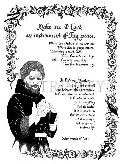 image relating to St Francis Prayer Printable titled Giclée Print - Prayer of St. Francis via D. Paulos Trinity