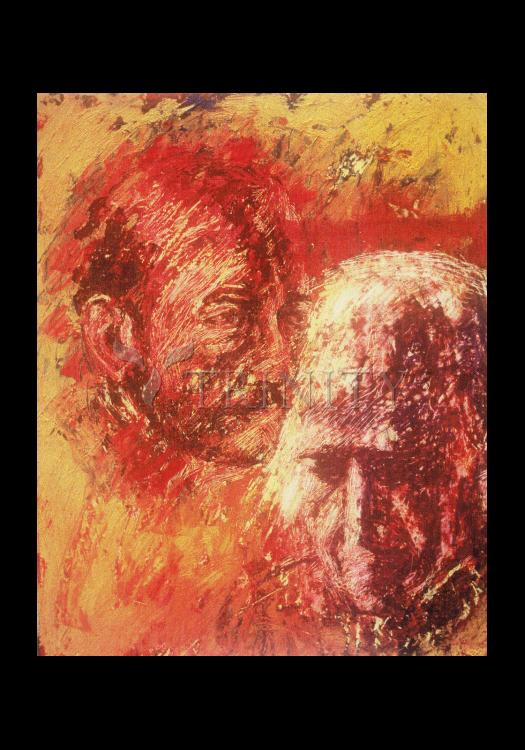 Holy Card - Heart of Ignatius on Mind of Arrupe by B. Gilroy