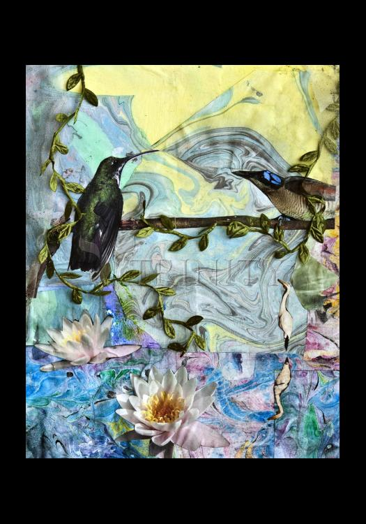 Holy Card - Birds Singing Above White Heron by B. Gilroy