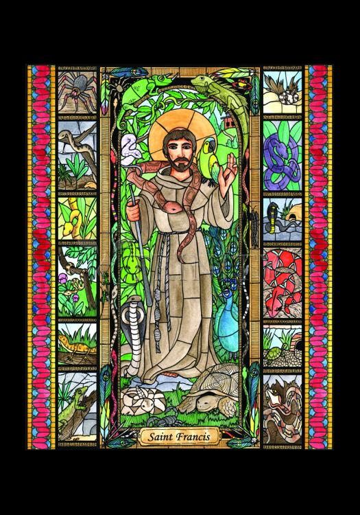 Holy Card - St. Francis - Patron of Exotic Animals by B. Nippert