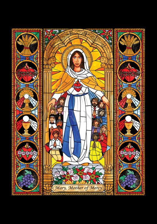 Holy Card - Mary, Mother of Mercy by B. Nippert