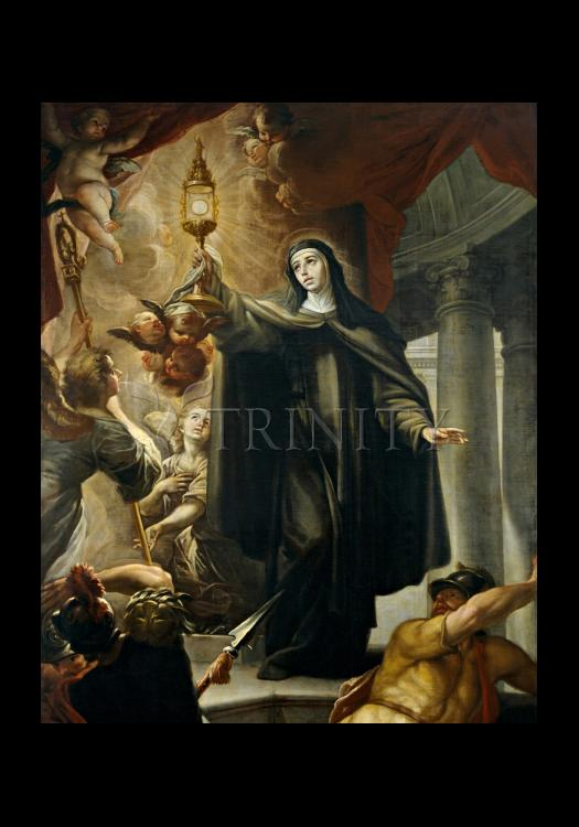 Holy Card - St. Clare of Assisi Driving Away Infidels with Eucharist by Museum Art