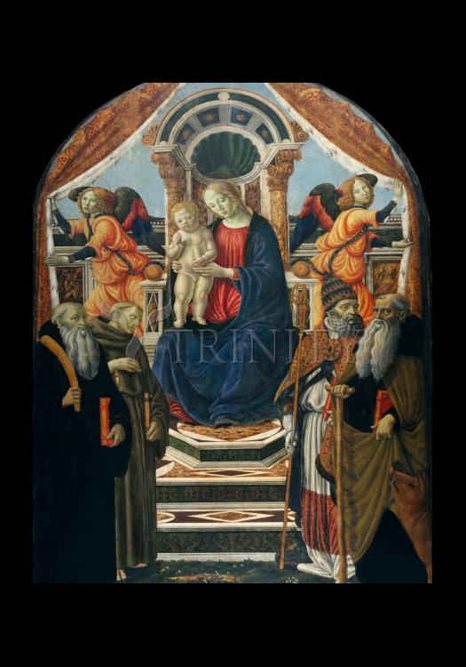 Holy Card - Madonna and Child Enthroned with Saints and Angels by Museum Art