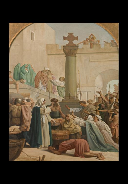 Holy Card - St. Genevieve Distributing Bread to Poor During Siege of Paris by Museum Art