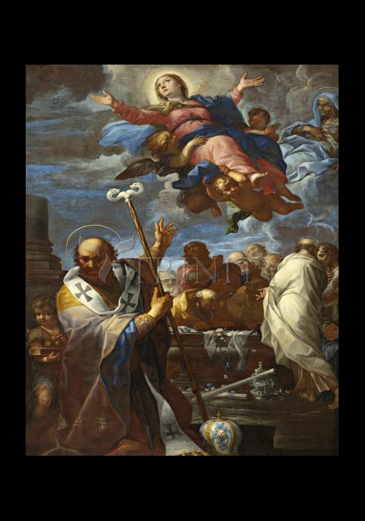 Holy Card - Assumption of Mary with Sts. Anne and Nicholas of Myra by Museum Art