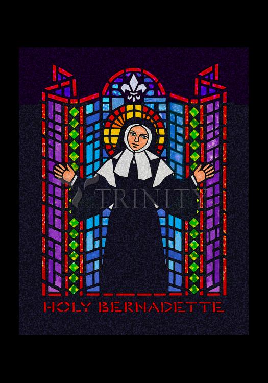Holy Card - St. Bernadette of Lourdes - Window by D. Paulos