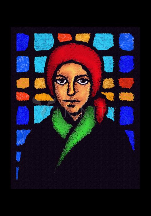 Holy Card - St. Bernadette of Lourdes - Stained Glass by D. Paulos