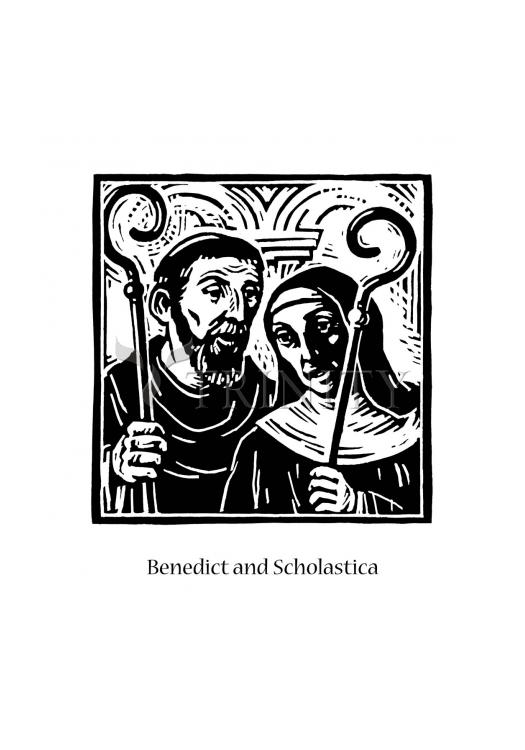 Holy Card - Sts. Benedict and Scholastica by J. Lonneman