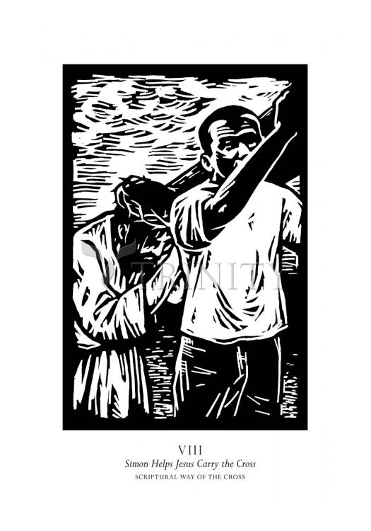 Holy Card - Scriptural Stations of the Cross 08 - Simon Helps Jesus Carry the Cross by J. Lonneman