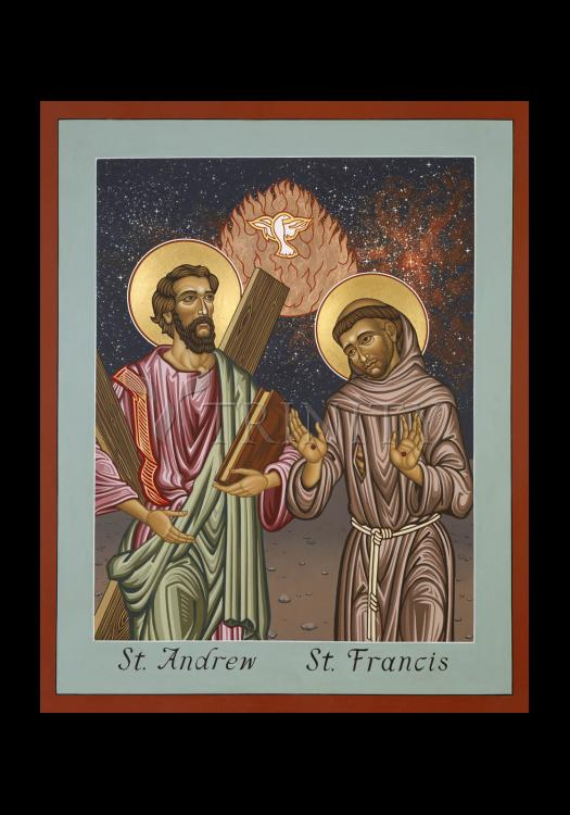 Holy Card - Sts. Andrew and Francis of Assisi by L. Williams