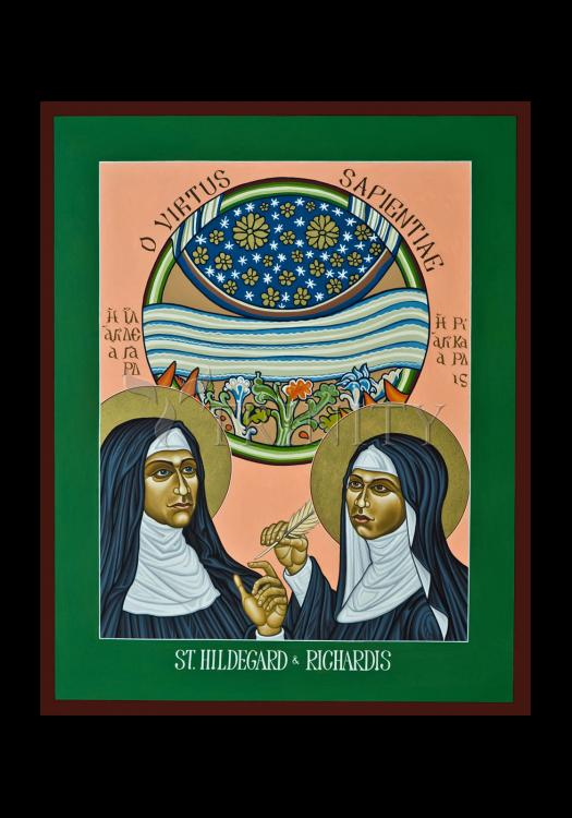 Holy Card - St. Hildegard of Bingen and her Assistant Richardis by L. Williams