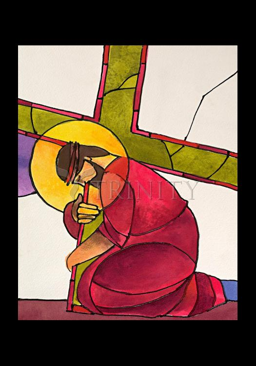 Holy Card - Stations of the Cross - 3 Jesus Falls the First Time by M. McGrath