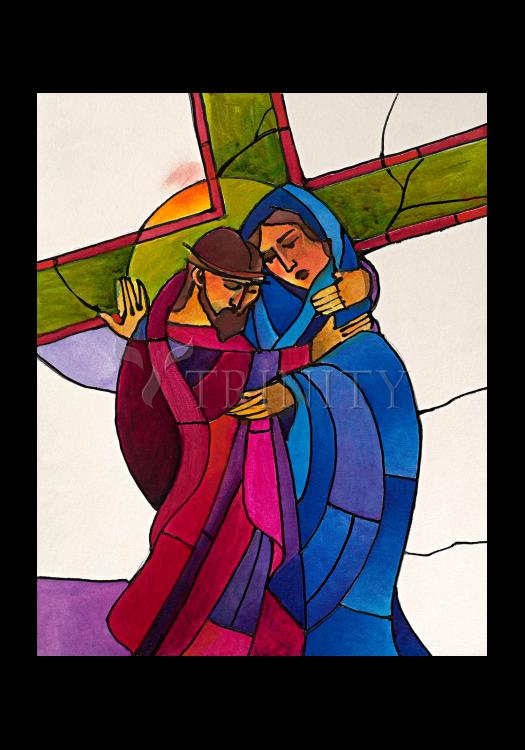 Holy Card - Stations of the Cross - 4 Jesus Meets His Sorrowful Mother by M. McGrath