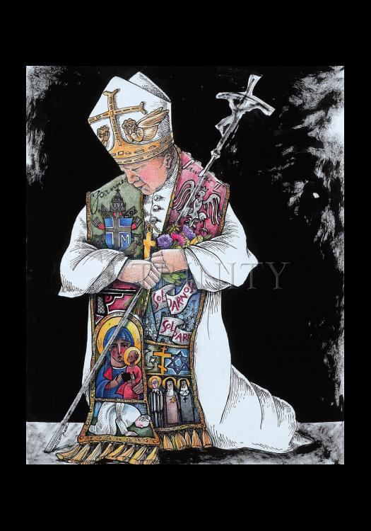 Holy Card - St. John Paul II Kneeling by M. McGrath