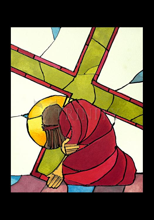Holy Card - Stations of the Cross - 7 Jesus Falls a Second Time by M. McGrath