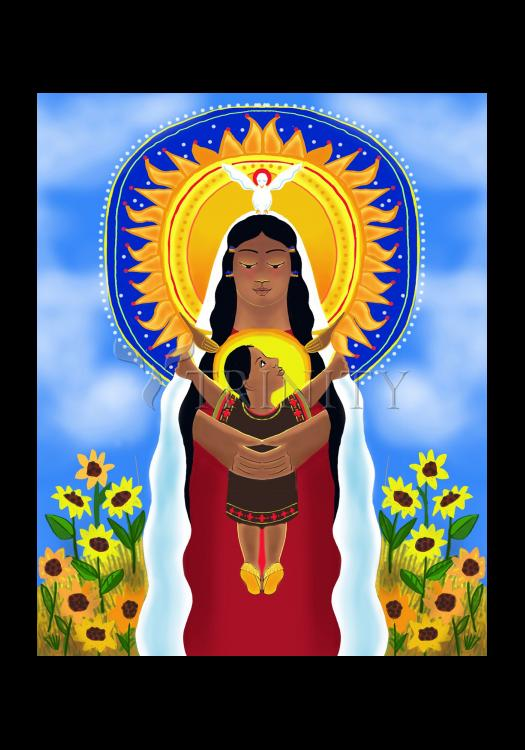 Holy Card - Lakota Madonna with Sunflowers by M. McGrath