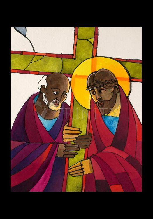 Holy Card - Stations of the Cross - 5 Simon Helps Jesus Carry the Cross by M. McGrath