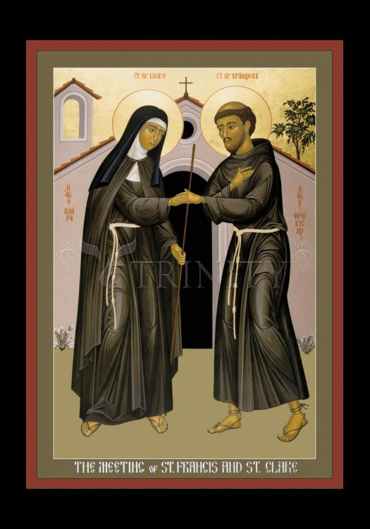 Holy Card - Meeting of Sts. Francis and Clare by R. Lentz