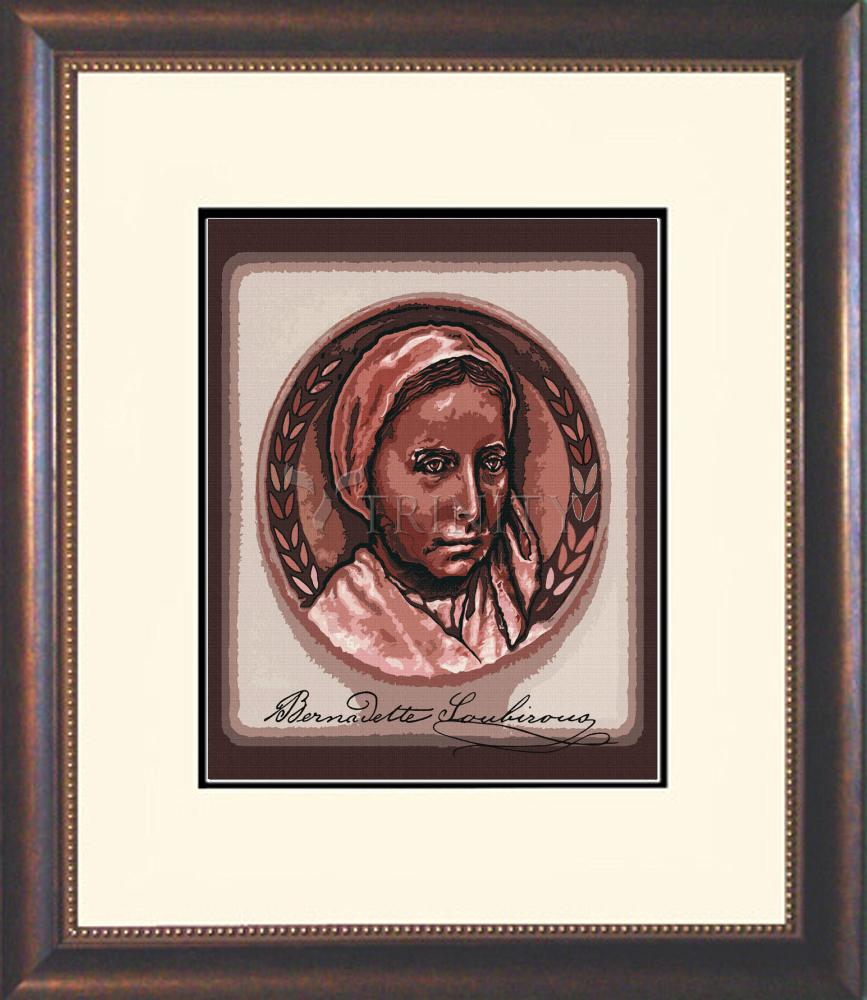Wall Frame St Bernadette Of Lourdes Portrait With Signature By