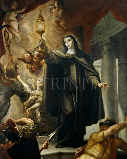 St. Clare of Assisi Driving Away Infidels with Eucharist - Museum Religious Art Classics