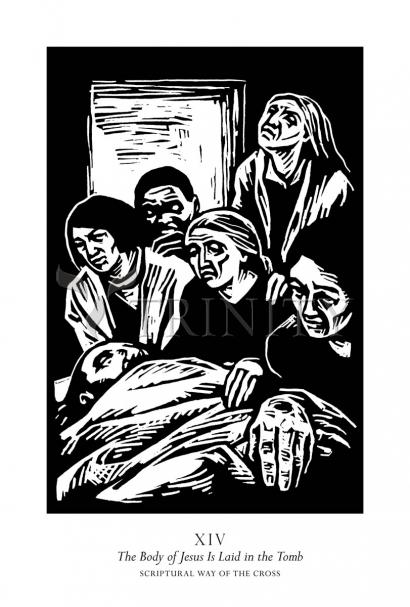 Scriptural Stations of the Cross 14 - The Body of Jesus is Laid in the Tomb by Julie Lonneman