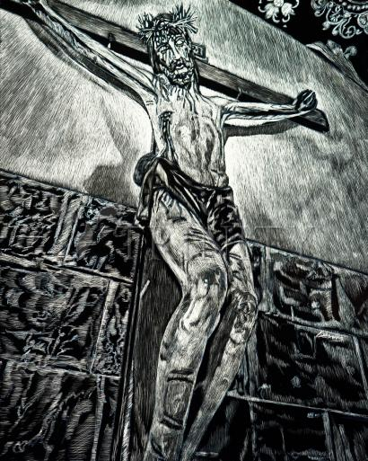 Crucifix, Coricancha, Peru  by Lewis Williams, OFS