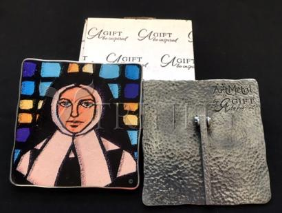 "Dan Paulos' St. Bernadette Stained Glass - 5"" Square Plaque"
