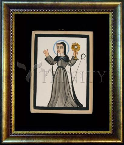 Desk Frame Bronze - St. Clare of Assisi by A. Olivas