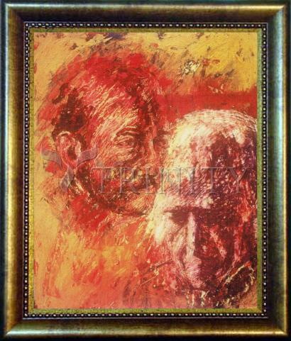 Desk Frame Bronze - Heart of Ignatius on Mind of Arrupe by B. Gilroy