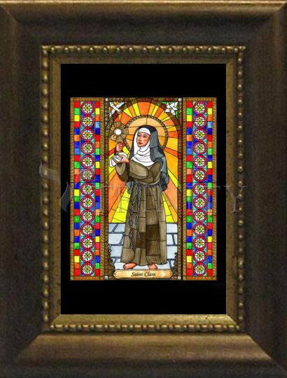 Desk Frame Bronze - St. Clare of Assisi by B. Nippert