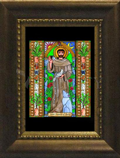 Desk Frame Bronze - St. Francis of Assisi by B. Nippert