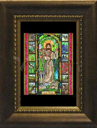 Desk Frame Bronze - St. Francis, Exotic Animals by B. Nippert