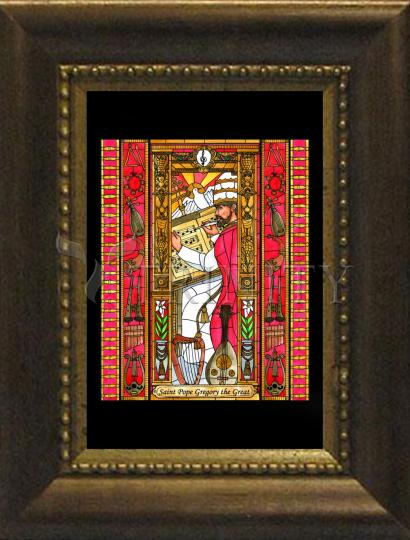 Desk Frame Bronze - St. Gregory the Great by B. Nippert