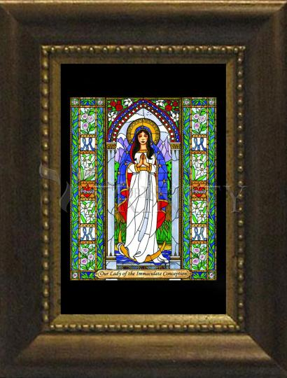 Desk Frame Bronze - Our Lady of the Immaculate Conception by B. Nippert
