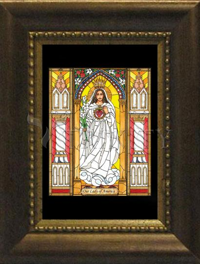 Desk Frame Bronze - Our Lady of America by B. Nippert
