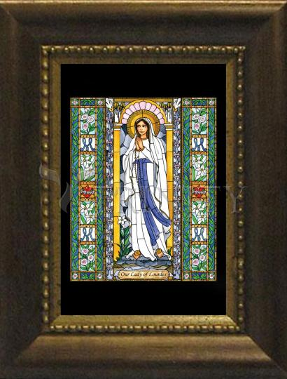 Desk Frame Bronze - Our Lady of Lourdes by B. Nippert