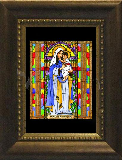 Desk Frame Bronze - Our Lady of the Rosary by B. Nippert