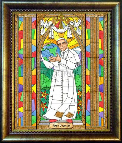 Desk Frame Bronze - Pope Francis by B. Nippert