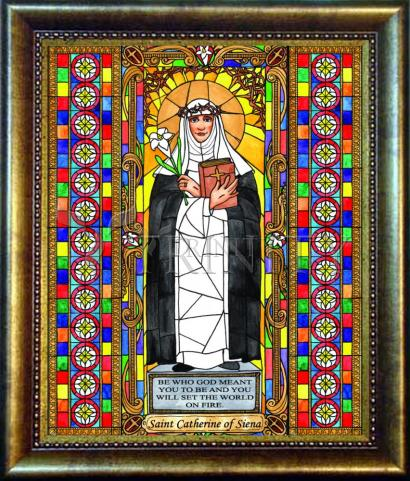 Desk Frame Bronze - St. Catherine of Siena by B. Nippert
