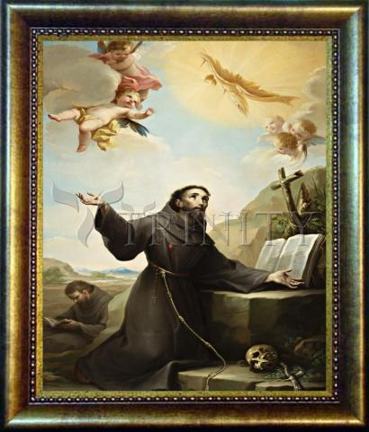Desk Frame Bronze - St. Francis of Assisi Receiving Stigmata by Museum Art