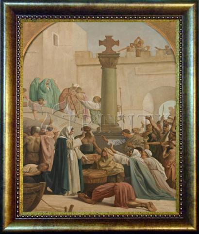 Desk Frame Bronze - St. Genevieve Distributing Bread to Poor During Siege of Paris by Museum Art
