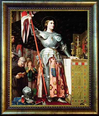 Desk Frame Bronze - St. Joan of Arc at Coronation of Charles VII by Museum Art