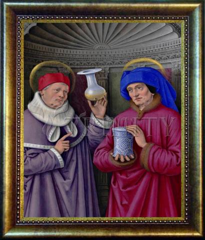 Desk Frame Bronze - Sts. Cosmas and Damian by Museum Art