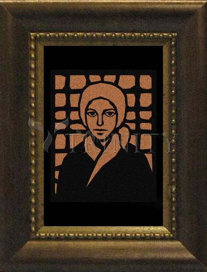 Desk Frame Bronze - St. Bernadette of Lourdes - Brown Glass by D. Paulos