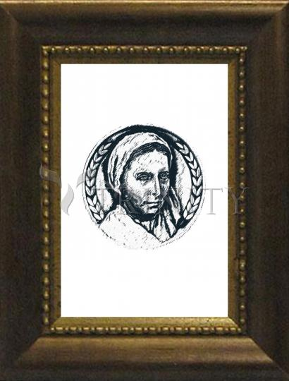 Desk Frame Bronze - St. Bernadette of Lourdes - Pen and Ink by D. Paulos