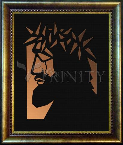 Desk Frame Bronze - Christ Hailed as King - Brown Glass by D. Paulos