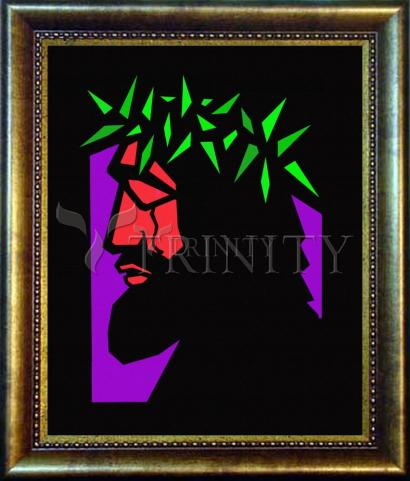 Desk Frame Bronze - Christ Hailed as King - Stained Glass by D. Paulos