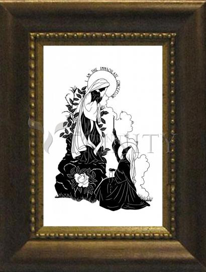 "Desk Frame Bronze - Our Lady and St. Bernadette of Lourdes - ""I Love Thee, Madame""  by D. Paulos"