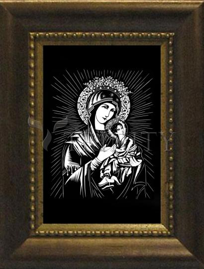 Desk Frame Bronze - Our Lady of Perpetual Help by D. Paulos