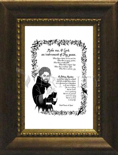 Desk Frame Bronze - Prayer of St. Francis by D. Paulos
